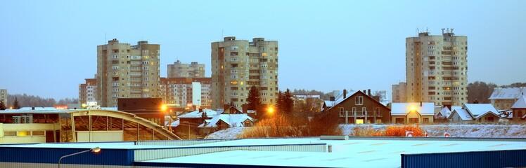 Vilnius city Fabijoniskes district new house and cars