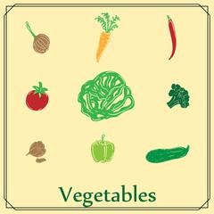 set of colored vegetables