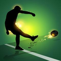 soccer player free kick shooting