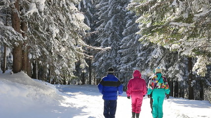 People enjoy in winter forest on the mountain