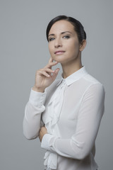 Attractive woman in white elegant shirt