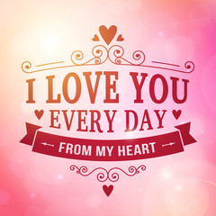 Valentine and wedding typography greeting card background