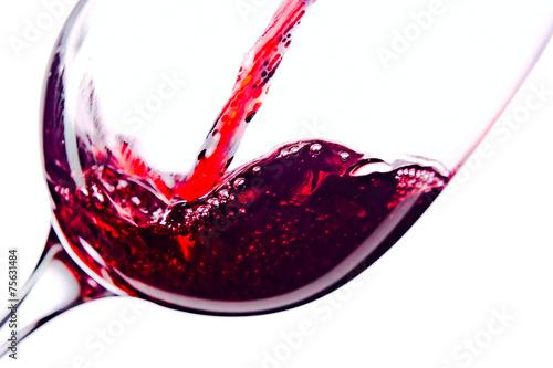 Fototapeta Red wine on white background