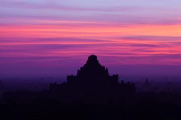 Sunset in Bagan Archaeological zone, Myanmar.