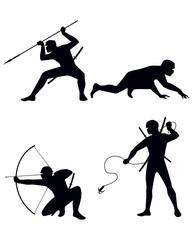 Four ninja  silhouettes
