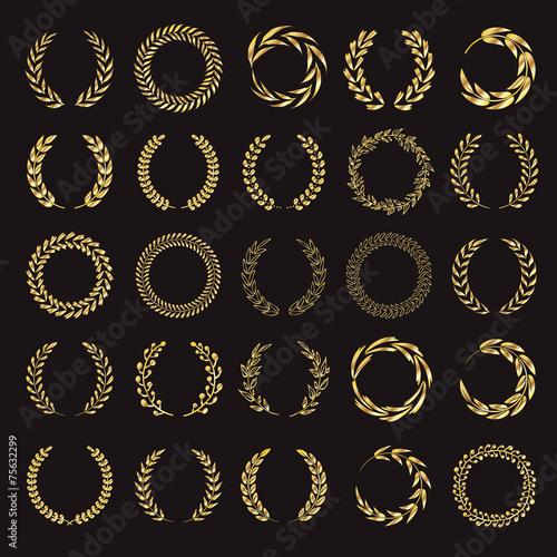 Set of vector golden laurel wreaths. - 75632299