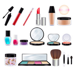 Make-up realistic icons set.