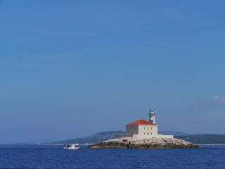 The Mulo lighthouse in the Adriatic sea of Croatia