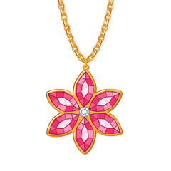 Hand drawn flower pendant necklace.