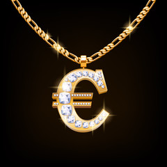 Euro sign jewelry necklace on golden chain.