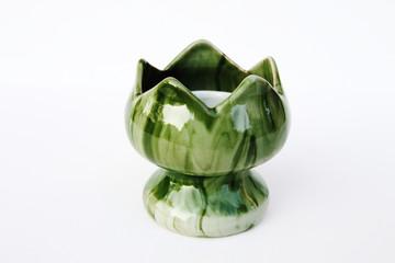 green ceramic candlestick