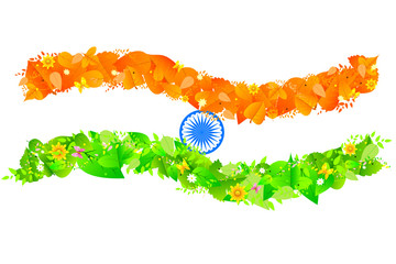 India flag with tricolor leaf