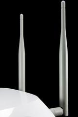 closeup of gray router's antennas