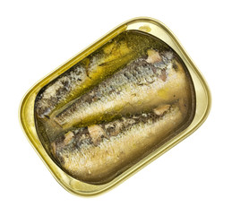 Open can of sardines in oil and water