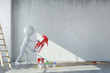 canvas print picture - Mann bei Renovierung wirft Farbe