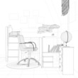 Kinderzimmer in Planung als Skizze