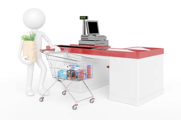 3D Mensch im Supermarkt an der Kasse