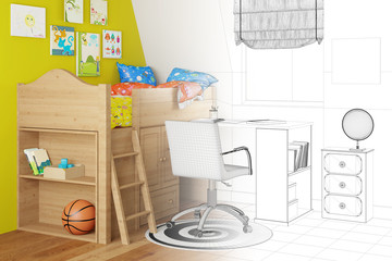 Entwurf eines Kinderzimmers in Planung