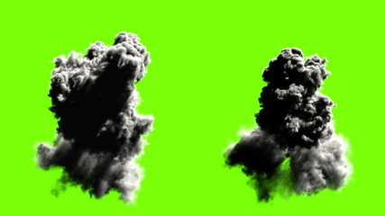 Explodes on green, five options. realistic 3d animation