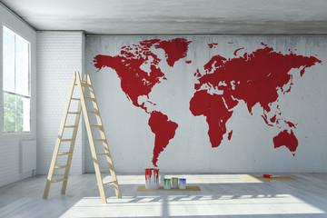 Weltkarte an Wand aus Beton gemalt