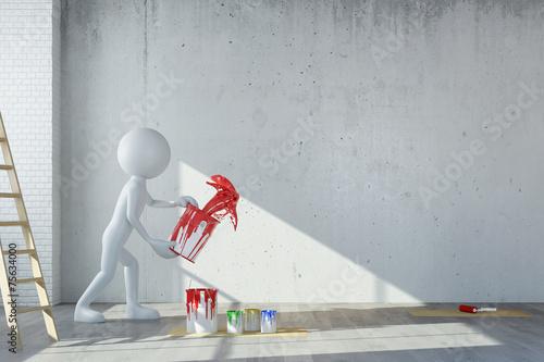 canvas print picture Mann bei Renovierung wirft Farbe