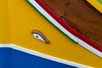 Traditional eyed fishing boat in in Marsaxlokk, Malta