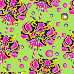 seamless background with varicoloured flowers. style Pop art
