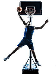 caucasian man basketball player jumping throwing silhouette