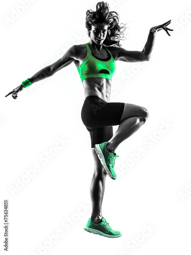 woman fitness jumping  exercises silhouette - 75634851