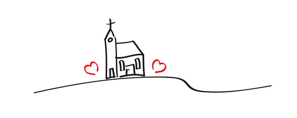 Grafik - Kirchen mit zwei Herzen