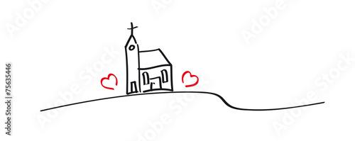 Zdjęcia na płótnie, fototapety, obrazy : Grafik - Kirche mit zwei Herzen, kleine Dorfkirche