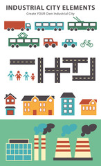 Town infographic elements. Vector city elements