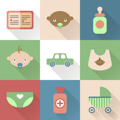 Colorful flat baby icons with shades. Vector infographic