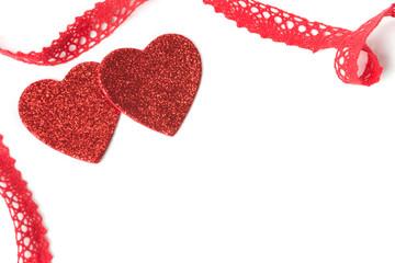 Herzen, Schleifenband, Valentinstag