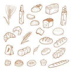 Hand drawn bread on white background.
