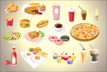 Set of colorful food icons.vector file eps10