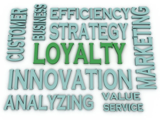 3d imagen Loyalty issues concept word cloud background