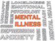 3d image Mental illness issues concept word cloud background