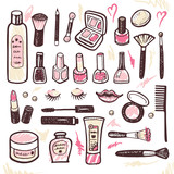 Hand drawn collection of cosmetics illustration