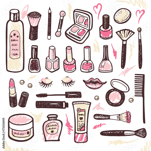 Hand drawn collection of cosmetics illustration - 75636644