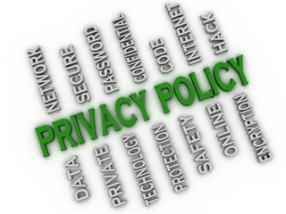 3d image Privacy policy issues concept word cloud background