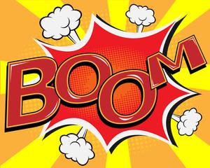 BOOM comic speech bubble, pop art cartoon vector