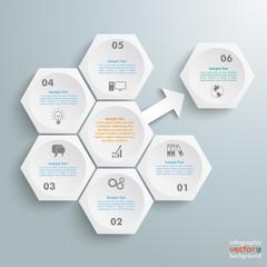 6 White Hexagons 1 Arrow Outsource