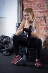 Woman preparing to crossfit training