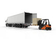 canvas print picture - Forklift and truck