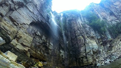 Waterfall in Canyons in Escarpas do Lago, Minas Gerais, Brazil