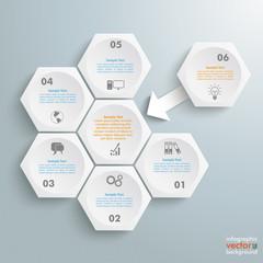 6 White Hexagons 1 Arrow Integration