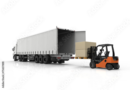 canvas print picture Forklift and truck