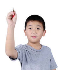 Cute boy with dart isolated on white background