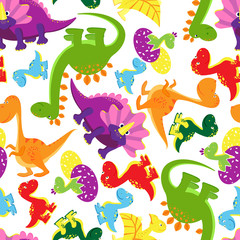 Seamless background pattern of baby dinosaurs